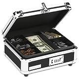 ** Plastic & Steel Cash Box w/Tumbler Lock, Black & Chrome