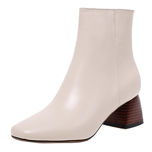 mujeres's Square Toe Las con Rice corto zapatos bloque White amp;X Botines de QIN plataforma tacones EnSAxqw1W