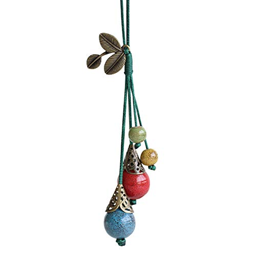 Brave669 Retro Ethnic Ceramic Bead Leaf Pendant Long Chain Sweater Necklace Women Jewelry Dark Green