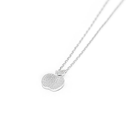 Me Plus Apple Small Charm Necklace Tiny Cute Pendant with Adjustable Clasp ()