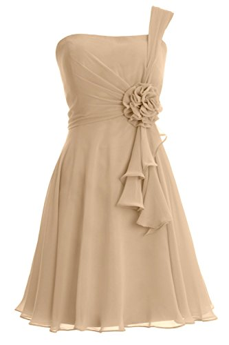 MACloth Women One Shoulder Short Bridesmaide Dress Wedding Cocktail Party Gown Champagne