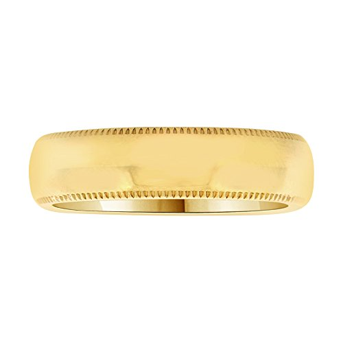 14k Yellow Gold, Classic Milgrain Plain Polished Band Ring 5mm Wide Size 13 by GiveMeGold