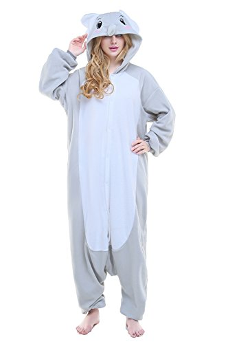 NEWCOSPLAY Elephant Costume Adult Onesie Christmas Pajamas Animal Costume (S, Gray -