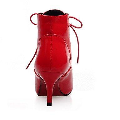 cm Evénement Talon 5 Noir à 7 Femme Habillé Aiguille red amp; Argent Soirée Hiver Rouge Polyuréthane DESY Marche Confort Bottes Lacet HawqzwA
