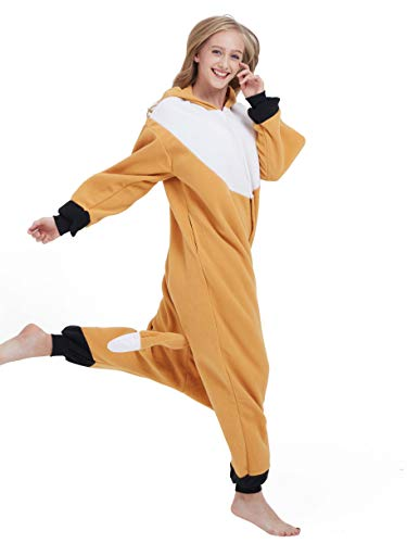 Unisexe Cosplay Combinaison Vetements Soiree Deguisements Adulte Nuit Kigurumi Pyjama Anime Animal Halloween Costume De Renard Outfit Onesie Orange AdwInqBC