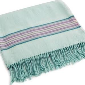 bluebellgray Welsh Stripe Wool Blend Throw - Blue