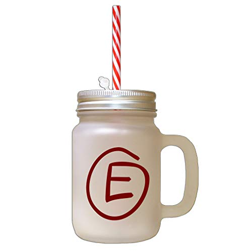 (Style In Print Maroon E Clipart Initial Monogram Letter E Frosted Glass Mason Jar with Straw)