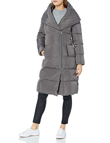 Cole Haan Women's Taffeta Down Double Breasted Zip Front Coat, Carbon, S (Lightweight Down Womens Coats)