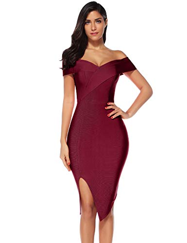 Meilun Womens Off Shoulder Slit Side Bandage Bodycon Dresss Wedding Party Dress (Wine, XS)