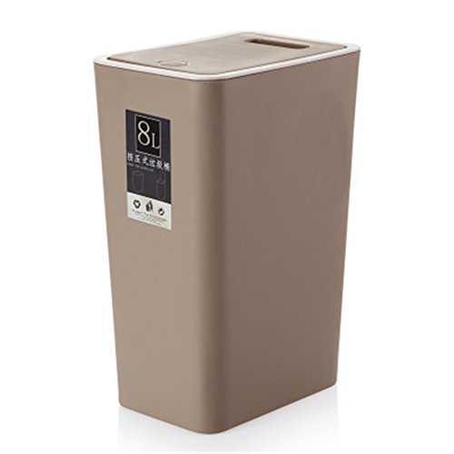 - Topdo 6 Colors Fashion Trash Can Plastic Trash Bin Can Rubbish Bin with Swing Lid-Brown