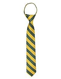 "Jacob Alexander Stripe Woven Boys 14"" College Striped Zipper Tie - Green Gold"