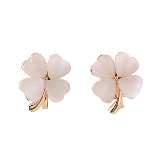 Fashion Cute 4 Heart Clover Shape Clip on Earrings Non Piercing for Girl's Kids Christmas Gift(Clover)