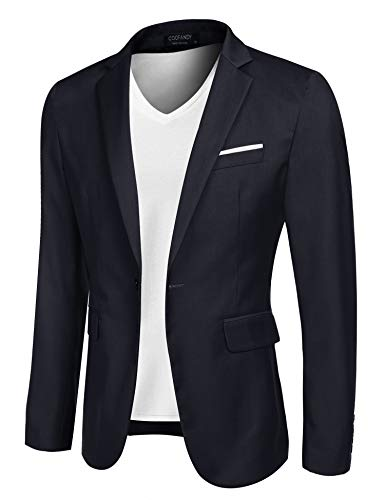 COOFANDY Men's Casual Suit Blazer Jackets Lightweight Sports Coats One Button (L, 2-Blue)