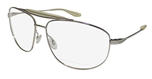 Barton Perreira Libertine Mens Aviator Full-rim Masculine Design Eyeglasses/Eye Glasses (61-14-143, Silver/Transparent) (Aviator Brille Rx)
