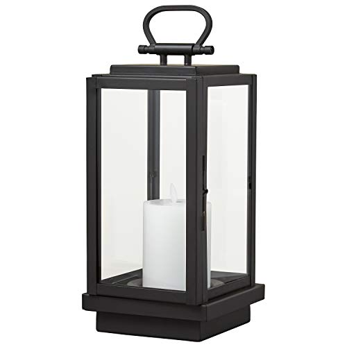 Stone & Beam Modern Decorative Outdoor Metal and Glass Lantern with LED Candle - 6 x 6 x 14 Inches, Black, For Indoor Outdoor - Hanging Black Oil Lamp Metal