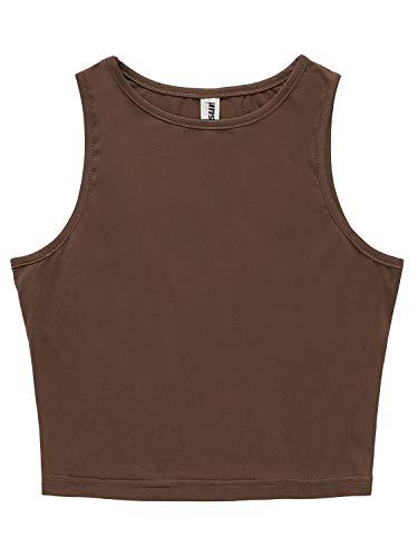 PERSUN Women's Sleeveless Basic Crop Tank Top (Small, Coffee) Brown Girls Tank Top