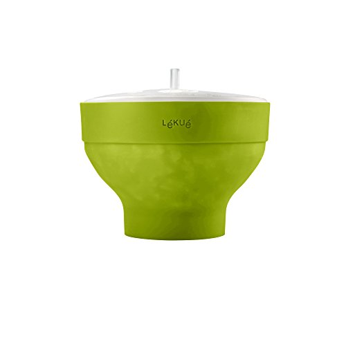 "Lekue 0200226V09M017 Microwave Popcorn Maker, 7.75"", Green"