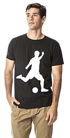 Soccer/Football sports cotton round neck tshirt, Black XL