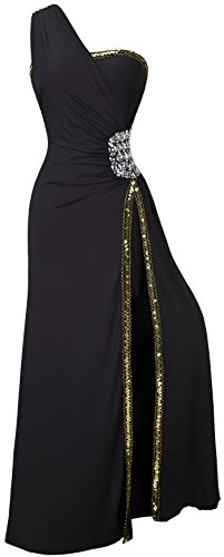 Ange-fashions Une Épaule Fendue Paillettes Perlées Robe De Soirée Noire De Femmes
