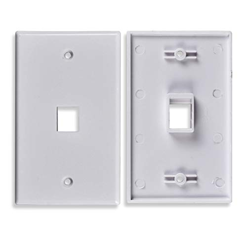 Conwork 1-Port Keystone Wall Plate for Keystone Jack and Modular Inserts (2-Pack)