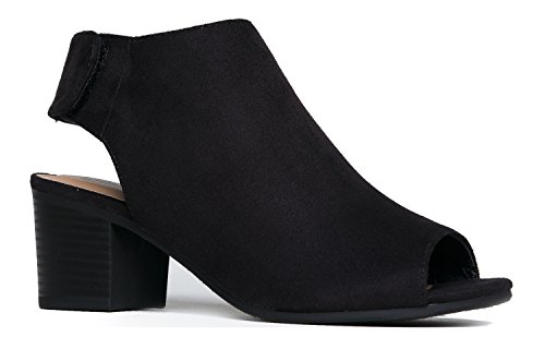 (J. Adams Harper Ankle Bootie - Adjustable Band Peep Toe Low Stacked Heel Boots)