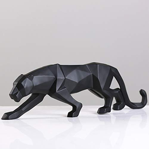 nobrand Modern Abstract Black Panther Sculpture Geometric Resin Leopard Statue Wildlife Decor Gift Craft Ornament Accessories Furnishing (Black)