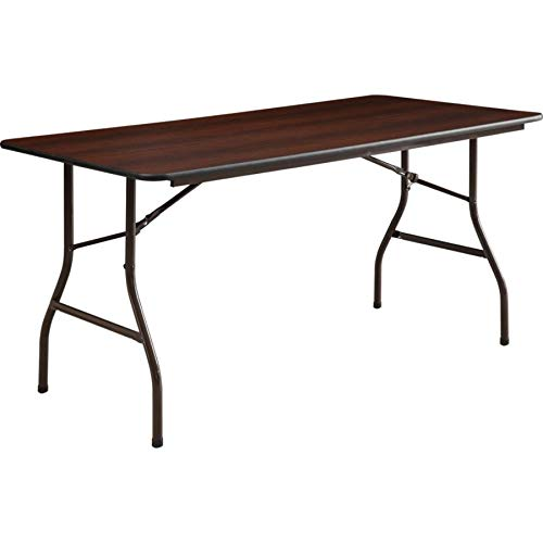 Lorell Folding Table, 60 by 30 by 29-Inch, Mahogany