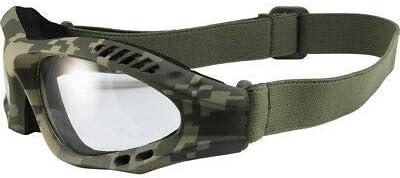 Birdz Avocet Digital Camo Tactical Padded Riding Goggles Clear Lens