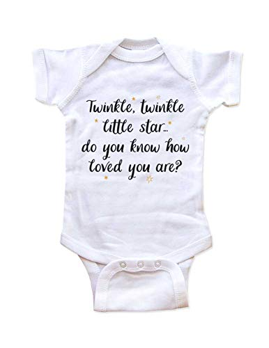 Twinkle Twinkle Little Star. do You Know How Loved You are? Nursery Rhyme Baby Bodysuit Shower Gift Surprise (6 Months Bodysuit, White)