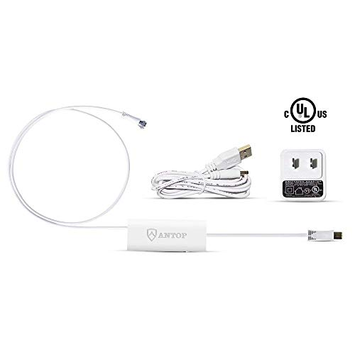 ANTOP Smartpass Amplifier with High Gain, Low Noise and Built-in 4G LTE Filter Booster for TV Signal with 3ft and 0.3ftCoaxial Cables Attached USB Power Adapter and 5ft USB Cable Included (White)