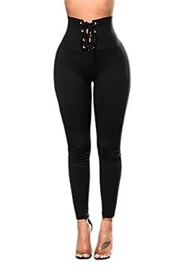 Mushuji Women Black High Waist Lace-Up Stretchy Cincher Sports Yoga Leggings Workout Tights Yoga Pants Slim Fit