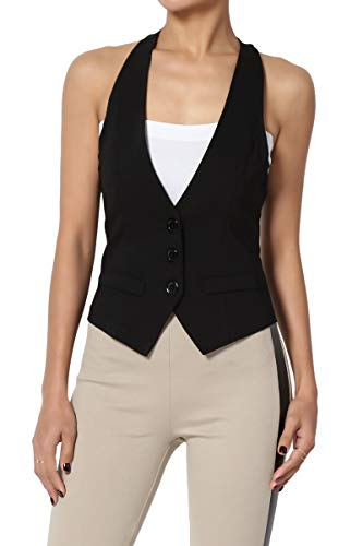 (TheMogan Junior's Dressy Casual Racerback Slim Suit Vest Waistcoat Black L)