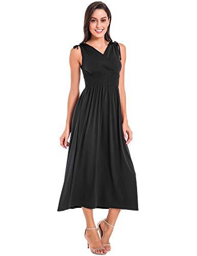 Le Vonfort Women\'s Shoulder Tie Knotted Empire Waist Pure Color Maxi Beach Dress Black Medium