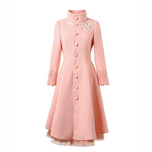 Lolita Coat - LY-Vigor Women Gothic Lolita Stand Collar Embroidery Winter Outerwear Warm Long Tunic Coat