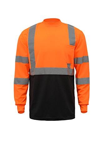 CJ Safety CJHVTS2003 ANSI Class 2 High Vis Long Sleeve Black Bottom Safety Shirt Moisture Wicking Mesh (5XL, Orange)