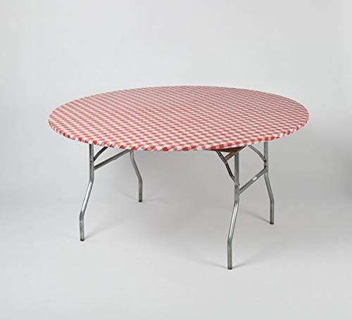 60'' Round Red & White Gingham Check Kwik Covers-6 Pack