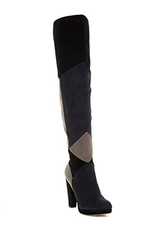 madden girl Deeon Over-The-Knee Patchwork Boots, Black Multi, 10 US (Boot Platform Patchwork Knee)