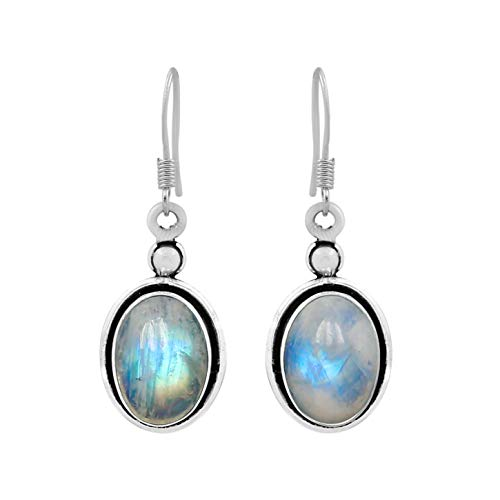Natural Oval Shape Rainbow Moonstone Dangle Earrings 925 Silver Plated Handmade Bohemian Vintage Style For Women Girls