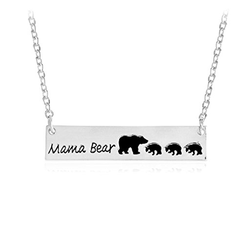 Birthstone Bear (Letter Love Sweet MAMA Bear Bar Necklace - Perfect Mother's Day gift Love Mom Silver Gold bar 3 Cubs set of three (Silver Four Beas))
