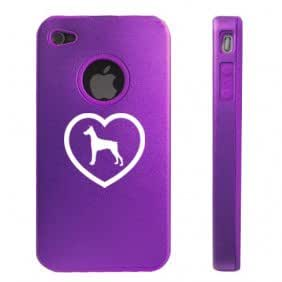 Apple iPhone 4 4S Purple D4712 Aluminum & Silicone Case Cover Heart Love Doberman Puppy Dog
