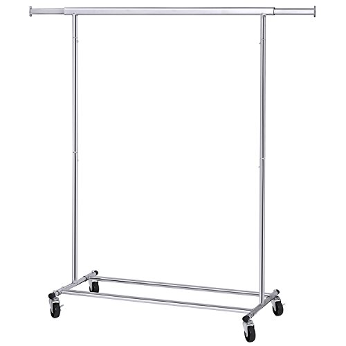 SONGMICS Clothes Garment Rack with Shelf on Wheels Maximum Capacity 198.41lbs Heavy Duty Clothing Rack Extendable & Collapsible ()