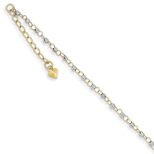 ICE CARATS 14k Two Tone Yellow Gold Circle Chain Mirror Beads 1 Inch Adjustable Plus Size Extender Anklet Ankle Beach Bracelet Fine Jewelry Ideal Mothers Day Gifts For Mom Women Gift Set From Heart (Bracelet Gold Circle Yellow)