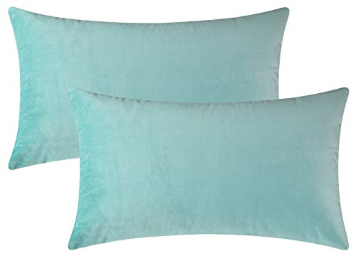 Mixhug Set of 2 Cozy Velvet Rectangle Decorative Throw Pillow Covers for Couch and Bed, Turquoise, 12 x 20 Inches