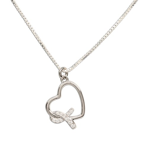 """Sterling Silver Heart""""Never Give up - You are Loved"""" Cancer Survivor and Awareness Ribbon Necklace"""