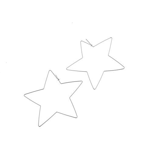 (Ameesi Fashion Simple Large Star Heart Shaped Hoop Earrings Jewelry for Women Girl - Silver Star)