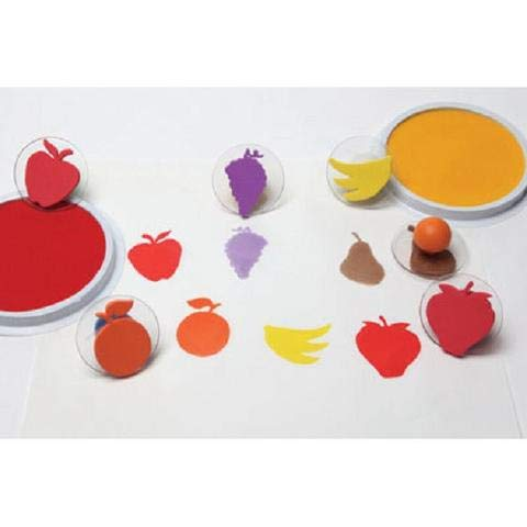 ToyPlaya Learning Materials Set of 6 Fruit Giant Rubber Stampers W case/Pear, Apple Etc.