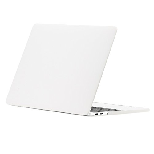 TOP CASE - Rubberized Matte Hard Case Cover Compatible with MacBook Pro 15(15Diagonally) with Touch Bar Model A1707,1990(Release 2016,2017,2018)- Satin White