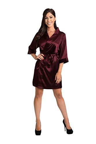 Zynotti Plus Size Women's Solid Wine Satin Bridal Party Robe L/XL 14-20