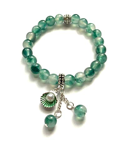 Natural Green Jade Stone and Cute Sea Shell Charm Bracelet. Stretch. Heart Chakra. Dream Stone. Clear White Inclusions Present.