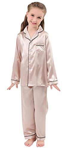 JOYTTON Kids Satin Pajamas Set PJS Long Sleeve Sleepwear Loungewear - Loungewear Pajamas Girls
